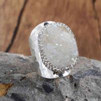 Druzy Druzy Stone Boho Rainbow Titanium Drusy para bodas EE. UU. Joyería europea Gems Banda S ANILLO