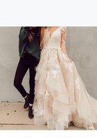 2019 blush boho линия кружева свадебные платья иллюзия с длинными рукавами слоистые тюль аппликации свадебные платья деревенские страны
