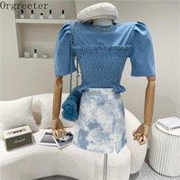 Orgreeter Estate Elastico Elastico Vita Slim Stretchy Tshirt Pulvello a maniche corte Solid Color Pullover Donne Moda T-Tops Tops T-shirt da donna