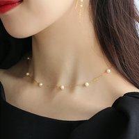 Chaîne Suqi sur le cou en acier inoxydable Argent Couleur Gold ABS Couker de perles Collier Pendentifs pour femmes bijoux