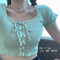 Women's Sweaters Candy-Colored Cardigan Summer Lace-up Bow Short-Sleeved Shirt Knitted Thin Top Sweet Lady Girl Hugging Waist