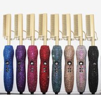 Diamond Set Hair Curler Glass Drill Copper Comb With Man-Made Diamond Hair Straightener Roll Straight Electric Brush 40