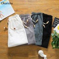 OhArishu Summer Cotton Shorts Allentato Casual Casual Black Black Coulisse Vita Bermuda Uomo Plus Size 4XL 5XL