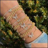 Charm Bracelets Jewelrysumu Shiny Rhinestone Tennis Chain For Women Bling Butterfly Crystal Anklet Bracelet Boho Beach Foot Jewelry Gift Dro