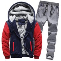 Mens Tracksuits Winter Warm Thick fleece Sweatsuits fashion Hommes Jogger Suits Pollover Hooded Hoodies jacket + pants Outfits casual Street or Outwear sportswear