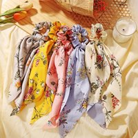 Floral Streamer Bow Ponytail Holder Scarf Hair Tie Hairbands Soft Knot Scrunchies Bands For Women Headdress Accessories1