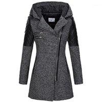 Kinikiss mulheres casaco zipper outono preto hoodies patchwork manga longa contraste quente cor jaqueta de inverno casacos1