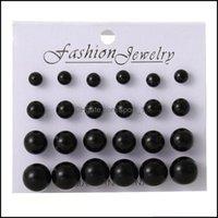 Jewelryearings For Woman Fashion White Pearl Piercing Stud Women Lady Jewelry 6Mm 8Mm 10Mm 12Mm Mix Size 1 Card 12 Pairs Earrings 23 Drop De