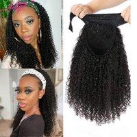 Lace Wigs LANQI Wholesale Bulk Headband Wig Afro Kinky Curly Human Hair Brazilian Glueless Scarf For Black Women