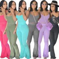 2021 pantalones de verano de verano traje nuevo diseñador de color sólido suspender pantalones inflamados pantalones casuales conjuntos de dos piezas moda ropa delgada D342