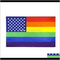 Drapeaux 3x5ft Strips colorés Drapeau 15090cm Polyester Deux côtés imprimés Gay Pride gay Rainbow Banner HHA1418 1BG5J SDGLP