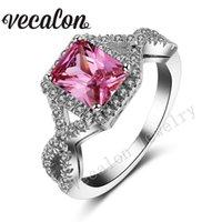 Vecalon Princess Cut 4ct Pink Sapphire Simuled Diamond CZ 925 Sterling Silver Compromiso Anillo de banda de boda para mujeres