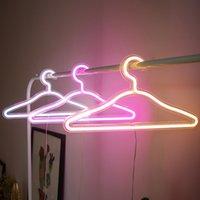Neonowe światła LED stojaki na ubrania Party Pokój Dekoracja Suknia Ślubna Kolorowa Noc Light Płaszcz Wieszak Kobiety USB 28HS Q2