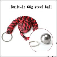 Arts, Crafts Gifts Home & Gardenrope Braided Chain Outdoor Self-Defense Weapons Beads Round Self Defense Keychain For Women Hwe6842 Drop Del
