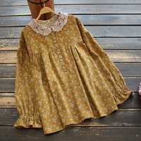 Lace Peter Pan Collar Rustic Flowers Print Loose Long Sleeve Shirt Blouse Women Spring 210506