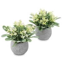 Decorative Flowers & Wreaths Fake Plants Eucalyptus Faux In Pots, 2 Pack Mini Potted Artificial Plants, And Greenery Leaves