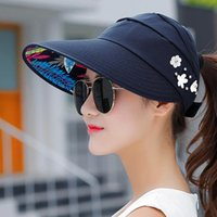 Wide Brim Hats Fashsiualy Floral Printed Sun Women's Spring And Summer Fashion Top Line Large Edge Sunshade Climbing Hat Casquette Femme