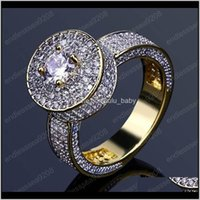 Punk Style Hip Hop Ring Fashion Gold Color Full 3A Cz Males Man Finger For Men Women Jewelr Dc4Xg Band Vzgfl