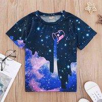 الصيف الأطفال قصيرة الأكمام عارضة س الرقبة الأرجواني النجوم السماء بلايز طفل بوي فتاة قمم قميص 3T-10T 210629