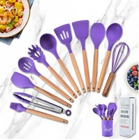 12 piece kitchen tools silica gel kitchen appliance set wood handle non-stick cooking spatula spoon clip cup kitchens supplies