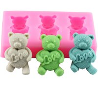 Cake Tools Mini Teddy Bear Fondant Molds Soap Chocolate Mould Kitchen Baking Silicone Sugar Decoarion Tool GWF10159