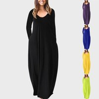 Casual Dresses Women's Long-sleeved Low-cut Sexy Dress Autumn Solid Color Beach Long For Women Loose Female Vestidos