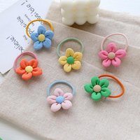 Hair Accessories Sale 1PC Flower Hairpins Rope For Baby Girls Candy Color Children BB Clips Ponytail Holder Elastic Bands