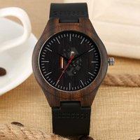 Wristwatches Black Ebony Wood Watches Stripe Men's Skeleton Movement Dial Clock Timepiece Gift Soft Leather Band Male Wrist Retro Reloj