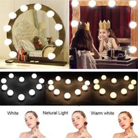 Compact Mirrors 10Pcs Make Up Mirror Vanity LED Lights Bulb Dimmable Lamp EU US USB Plug Adjustable Brightness Makeup Tools