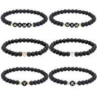 26 Letters Name Bracelet for Women Men Couple Love Friendship Lucky DIY 6mm Glass Bead Bracelets