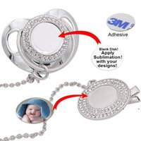 Customize Sublimation Bling Pacifier with Clip Necklace Crystals Party Favor For Baby Keepsake Brithday Gift EWE7476