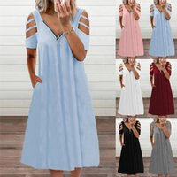 Summer Sexy V Neck Zipper Womens Dresses Solid Color Casual Off Shoulder Short Sleeved Loose Female Dress Plus Size Clothing