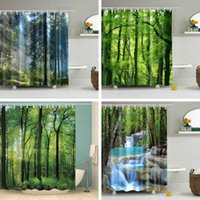 Shower Curtains Forest Trees Printed 3d Green Curtain Pattern Bathroom Waterproof Mildewproof Decor Cortina De Bano180x200cm Large