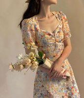 프랑스 platycodon 달콤한 부드러운 햅번 스타일 작은 데이지 꽃 드레스