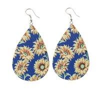 Pendientes de lágrimas de cuero femenino impreso de alta calidad para girasol Pendientes de flores en capas coloridas Pendientes de gota de agua Regalos creativos 1621 Q2