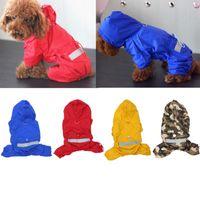 Dog Apparel Solid Color Pets Raincoats Cats Dogs Hooded Reflective Rain Coat Puppy Small Waterproof Jacket Jumpsuit Cloak Clothes