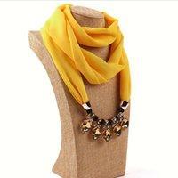 Collier de bijoux décoratifs de mode Collier Crystal Perles Pendentif Echarpe Foulard Foulard Femme Écharpes Foulards Hijab Scarfs
