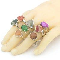 حلقات الفرقة الأزياء والمجوهرات بالجملة الكثير 20PCS ناتروال الأحجار الكريمة حجر الفضة مطلي المرأة خاتم الولايات المتحدة