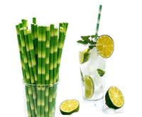 Fresh Green Bamboo Yellow Bamboo Pattern Paper Straw Drink Decoration 1000 Environment-friendly Disposable Bamboo Juice Straw 19.5cm
