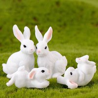 Decorative Objects White Rabbit Family Easter Bunny Doll Ornament Toy Miniature Animals Accessory Fairy Garden Decoration Moss Micro Landscape Material ZWL416