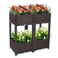 Waco Plantersは庭のベッドのプラスチック、4本の野菜の植物のキット、ハーブの花の植物の植物のキット、脚の排水孔が付いている箱のコンテナ、茶色のバルコニーレストラン