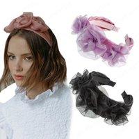 Rose Flor Lace Headband Mulheres Botão Floral Bezel Hairband Senhoras Retro Cabelo Loop Feminino Headwear Acessórios