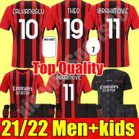 AC Milan 212 22 Футбол Джерси Молодежь Ибрагимович Брамим Беннасер Кесси Романьоли Calhanoglu 2021 2022 Футбольная футболка Tonali Rebic Maillot Men + Kids Kit