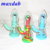 Mini Silicone Beaker Bong Dab Rigs hookah smoking Water Pipe Bongs Oil Rig with 14mm Glass Bowl tobacco hand pipes ash catcher nectar collector in stock