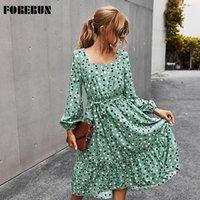 Casual Dresses FORERUN Women Polka Dot Dress Square Collar Lantern Long Sleeve Elegant Spring Autumn 2021 Ruffle