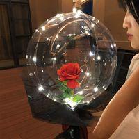Transparent Bobo Ball LED Ballon lumineux Ballon Rose Bouquet Rose Saint Valentin Ballon cadeau pour la fête d'anniversaire Décor de mariage 1465 V2