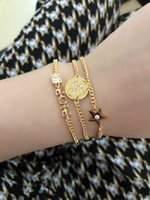 Designer letter Bracelet three pic Yellow round Link Chain have stamp star very beautiful with box 060620