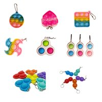 Pop Fidget Toys Key Chains Sensory Push IT Bubble Poppers Simple Dimple Toy Keychain Carabiner Stress Reliever Various Styles