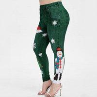 Women's Leggings 2022 Christmas Cartoon Snowman Cute Lovely Women High Waist Full Jeggings Ladies Blue Spandex Skinny Workout Pants