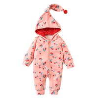 Jumpsuits Hooded Romper Jumpsuit Set Born Infant Baby Girls Clothes Boys Zipper Fruit Print Casual Children's Clothing